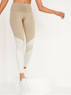 High-Waisted Elevate CozeCore Color-Blocked Leggings for Women