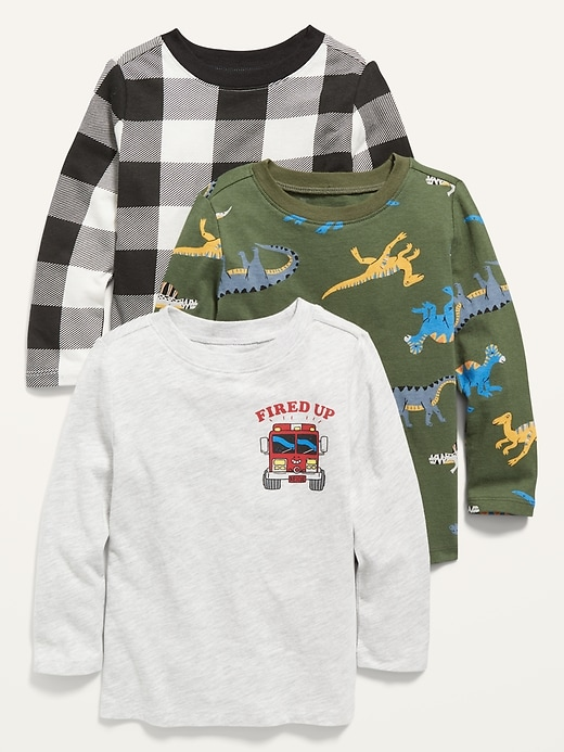 Long-Sleeve Printed Tee 3-Pack for Toddler Boys $5.58