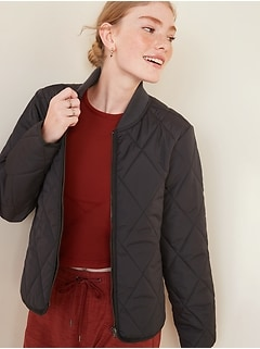 Diamond-Quilted Zip Jacket for Women
