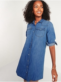 Western Jean Shirt Dress for Women