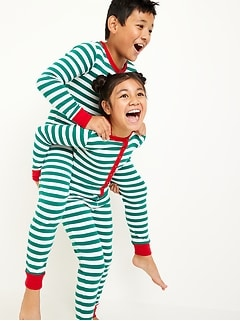 Striped Henley Pajama One-Piece for Girls