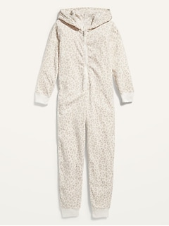 Gender-Neutral Micro Fleece Hooded Pajama One-Piece for Kids