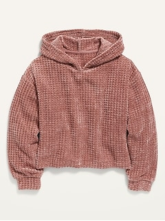 Cozy Thermal-Knit Chenille Pullover Hoodie for Girls