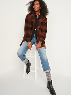 Oversized Soft-Brushed Plaid Long Shirt Jacket for Women