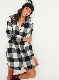 Buffalo Plaid Flannel Nightgown for Women