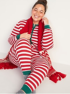 Patterned Waffle-Knit Plus-Size One-Piece Pajamas