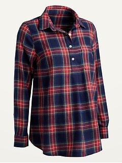 Maternity Plaid Flannel Popover Shirt