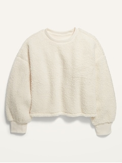 Slouchy Sherpa Cropped Pullover for Girls