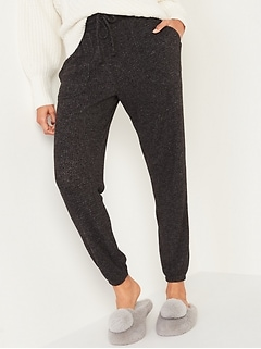 Mid-Rise Cozy Thermal-Knit Jogger Lounge Pants for Women