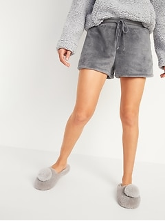 Cozy Faux-Fur Sherpa Lounge Shorts for Women -- 3-inch inseam