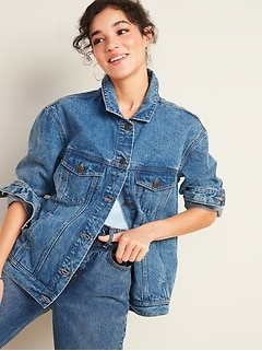 Oversized Boyfriend Jean Jacket for Women