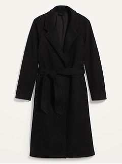 Oversized Soft-Brushed Tie-Belt Coat for Women