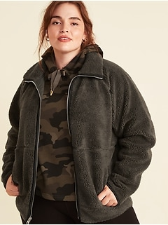 Cozy Teddy Sherpa Plus-Size Long Zip Jacket