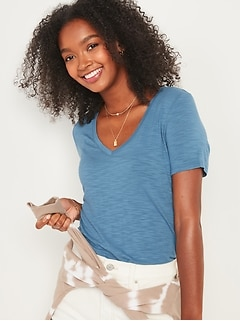 Luxe V-Neck Slub-Knit Tee for Women