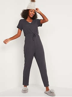 Cozy Thermal-Knit Tie-Waist Jumpsuit for Women