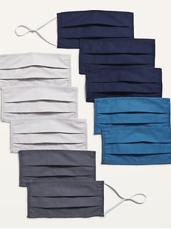 Variety 10-Pack of Triple-Layer Cloth Pleated Face Masks for Adults (with Ear Adjusters)