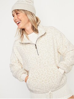 Cozy Faux-Fur Half-Zip Cinch-Hem Sweatshirt for Women