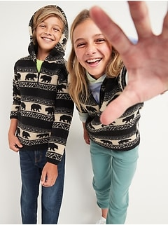 Gender-Neutral Printed Sherpa 1/2-Zip Pullover Hoodie for Kids