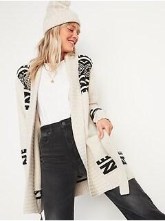 Cozy Fair Isle Tie-Belt Cardigan Sweater for Women