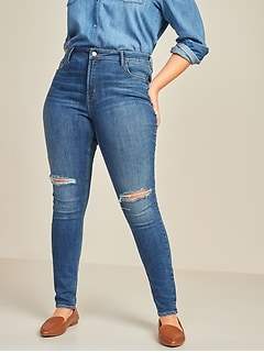 High-Waisted Rockstar Super Skinny Ripped Jeans for Women