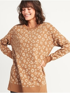 Loose Leopard-Print Tunic Sweatshirt for Women