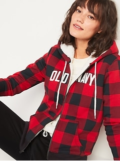 Cozy Sherpa-Lined Logo-Graphic Zip Hoodie for Women