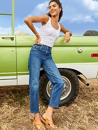 Extra High-Waisted Sky-Hi Straight Jeans for Women