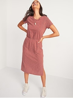 Waist-Defined Slub-Knit Midi T-Shirt Dress