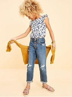 POPSUGAR x Old Navy High-Waisted Distressed O.G. Slim Straight Button-Fly Jeans