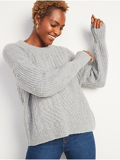 Cozy Cable-Knit Blouson-Sleeve Sweater for Women