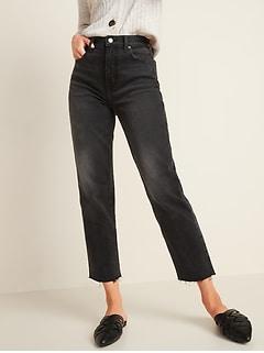 Extra High-Waisted Sky-Hi Straight Raw-Hem Black Jeans for Women