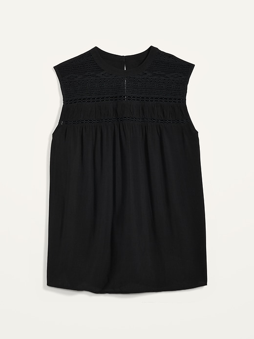 High-Neck Lace-Yoke Sleeveless Top for Women