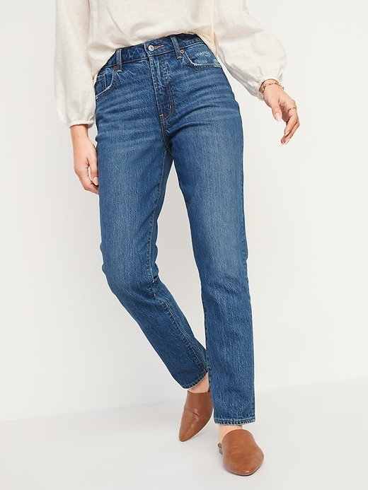 High-Waisted Slouchy Straight Medium-Wash Jeans for Women