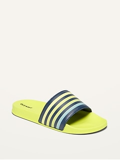 Gender-Neutral Faux-Leather Striped Logo-Graphic Slides for Kids