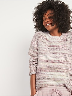 Oversized Cozy Space-Dye Sweater for Women