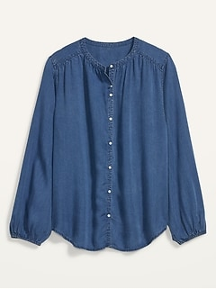 Oversized Chambray Button-Front Poet Blouse for Women