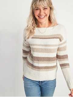 Slouchy Cozy Striped Boat-Neck Sweater for Women