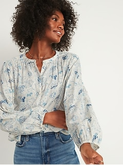 Oversized Button-Front Poet Blouse for Women