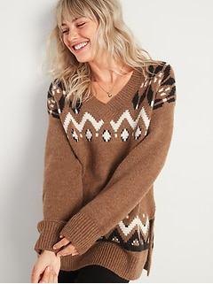 Slouchy Fair Isle V-Neck Tunic Sweater for Women