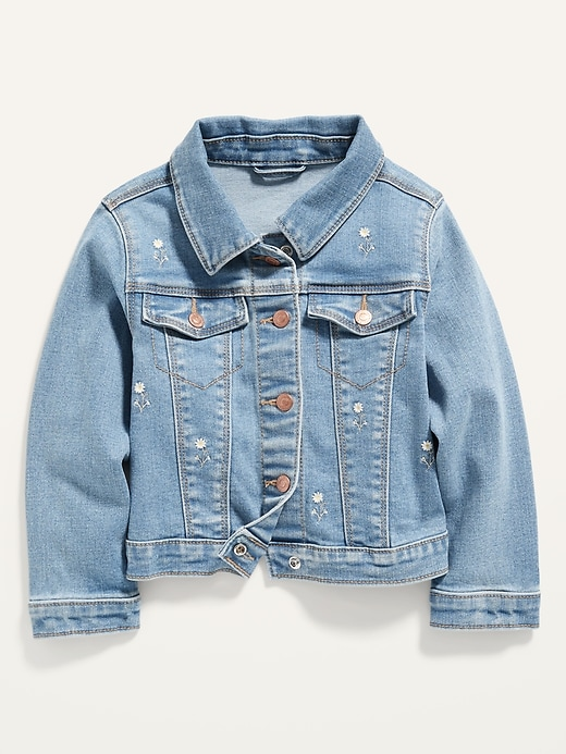 Embroidered-Daisy Stretch Jean Jacket for Toddler Girls