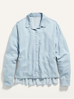 Oversized Cropped Chambray Swing Shirt for Women