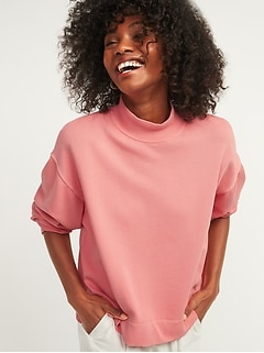 Oversized Garment-Dyed Mock-Neck Sweatshirt for Women