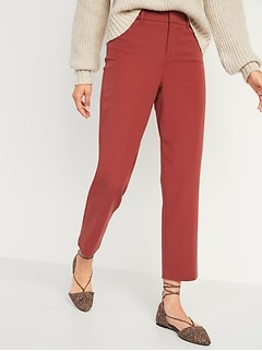 High-Waisted Pixie Straight-Leg Ankle Pants for Women