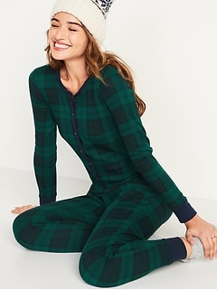 Patterned Waffle-Knit One-Piece Pajamas for Women