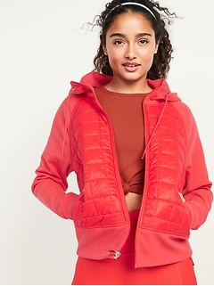 Dynamic Fleece Quilted Hybrid Zip Hooded Jacket for Women