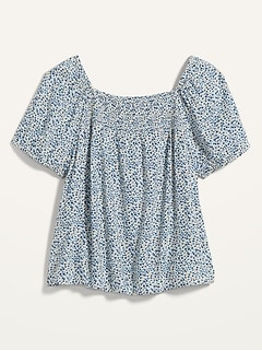 Smocked-Yoke Floral-Print Swing Top for Women