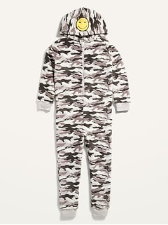 Gender-Neutral Camo Hooded Pajama One-Piece for Kids