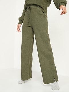 High-Waisted French-Rib Wide-Leg Lounge Pants for Women