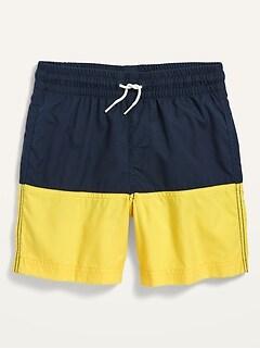 Color-Blocked Swim Trunks for Boys