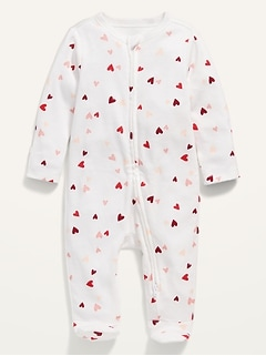 Printed Fold-Over Mitten Footie Pajama One-Piece for Baby